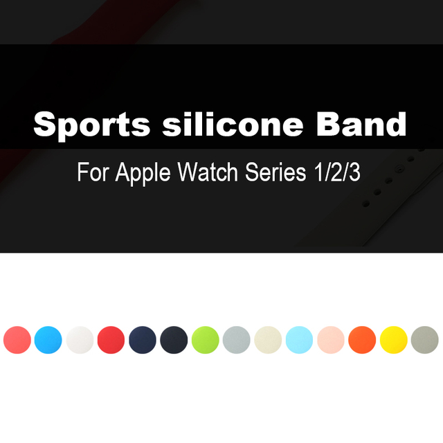 Casual Sports Silicone Strap Applicable for Apple Watch Series 4/3/2 Replacement Strap Watchband Strap for Apple Watch 42mm 38mm