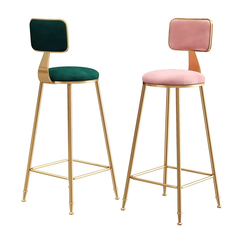 Simple gold bar stool backrest high stools red bar stool front restaurant lounge chair statue