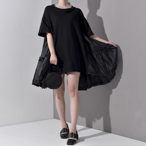 Image 3 - [EAM] 2020 חדש אביב קיץ צוואר עגול חצי שרוול קפלים פיצול משותף Loose Oversize גדול גודל שמלת נשים אופנה גאות JS7910