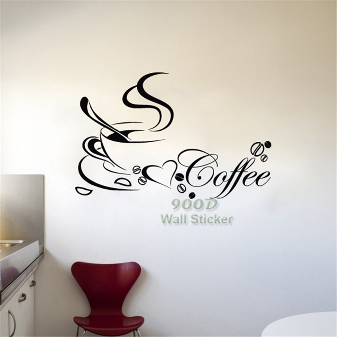 Coffee Cup Wall Sticker Diy Home Decoration Vinyl Removable Wall Decal Diy Home Decor Wall Art