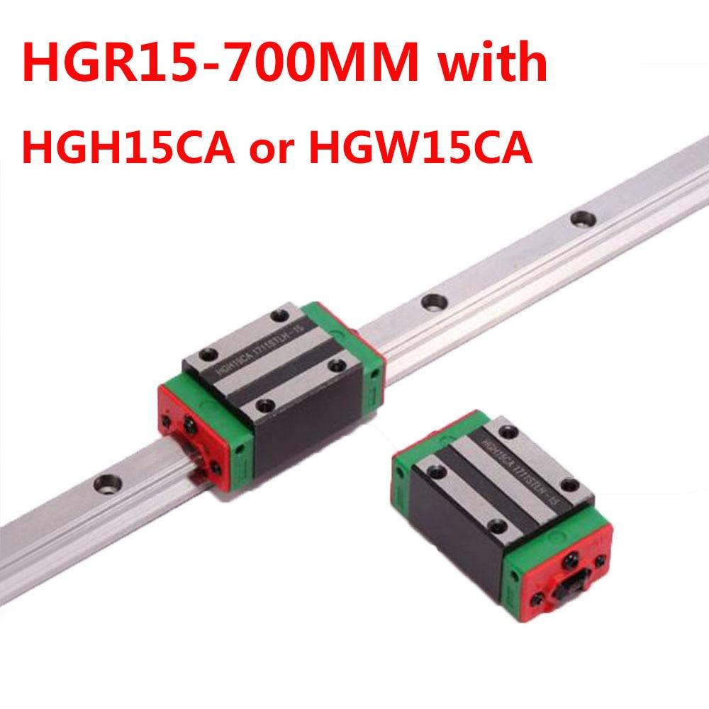 1 stück HGR15 Linear Guide Breite 15mm Länge 700mm mit 1 stück HGH15CA oder HGW15CA Slider für cnc xyz achse