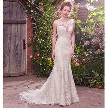 Verngo Mermaid Wedding Dress Lace Appliques Gowns Backless Bride V-back Boho Vestido De Noiva