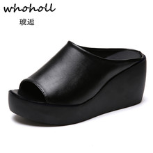 Whoholl 2019 Women Sandals Summer Shoes Beach Leather Slippers Flip Flops Zapatillas Mujer Scarpe Zapatos 41