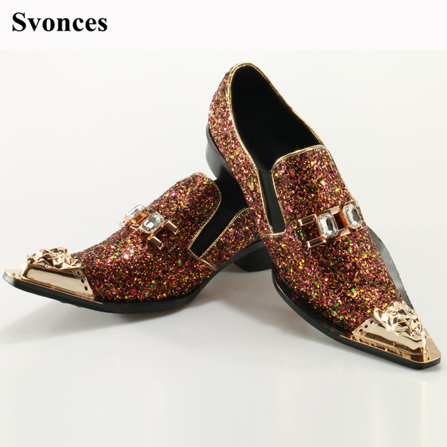 bed41dba4a12 Svonces 2018 HOT Sale Men s Slip On Sequined Loafers Men s Casual Shoes  Glitter Flats Brown Colors Leather Mens Dress Shoes