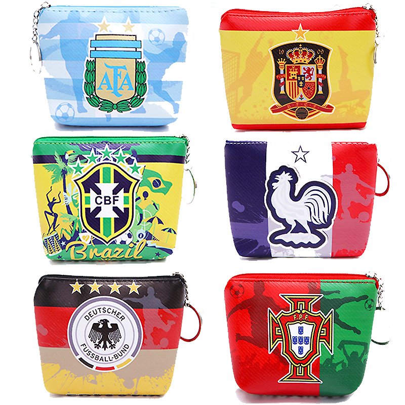 2018 Football Soccer Pattern Coin Cash Pouch PU Leather Coin Purse Storage Bags Small Coin Bag Flag of Brazil Argentina Spain