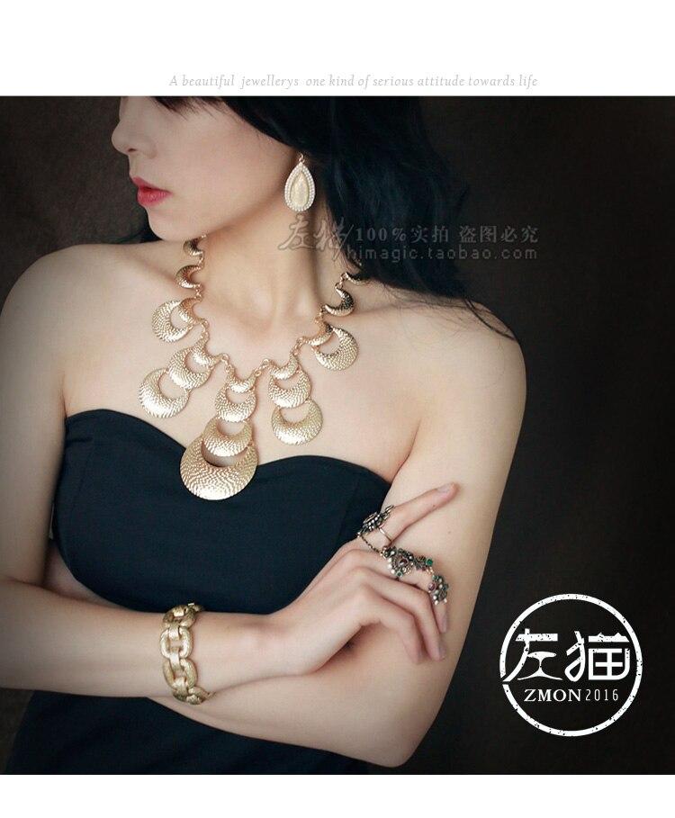Europe et amérique exagéré collier vintage en métal design court collier décoratif chandail chaîne vêtements Fine large chaîne - 2