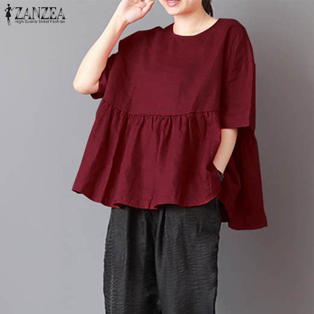 d81e98bd70640 2018 ZANZEA Summer Blouse Vintage Women Tops Blusas Pleated Short Sleeve  Loose Baggy Cotton Linen Shirt Plus Size Blusa Feminina