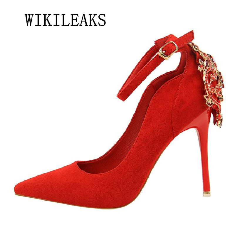 women shoes 2018 sexy pumps rhinestone pointed toe wedding shoes woman extreme high heels stiletto mary jane shoes zapatos mujer fashion women wedding shoes rhinestone square buckle 90mm middle stiletto heels low cut vamp pointed toe jeweled bridal shoes