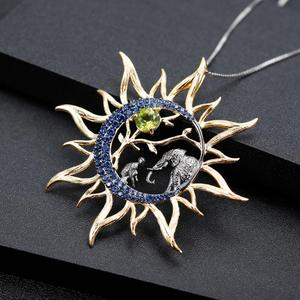 Image 2 - Gems Ba Lê Peridot Tự Nhiên Gemstone Mỹ Trang Sức Nữ Bạc 925 Handmade Thiên Mặt Trăng Mặt Trời Mặt Dây Chuyền Vòng Đeo Cổ Cho Nữ