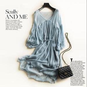 Image 2 - Women Dress 100%Real Silk A Line Round Collar Long Dress 2020 Summer Elegant Silk Dress Vestidos
