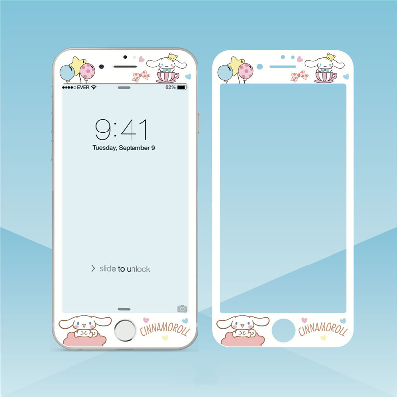 Tempered-Glass Protective-Film Screen-Protector 7plus Cartoon iPhone 8 for Cute Lovely