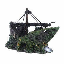 Free shipping Hot Aquarium Ornament Shipwreck Sailing Boat Sunk Destroyer Fish Tank Cave Decor