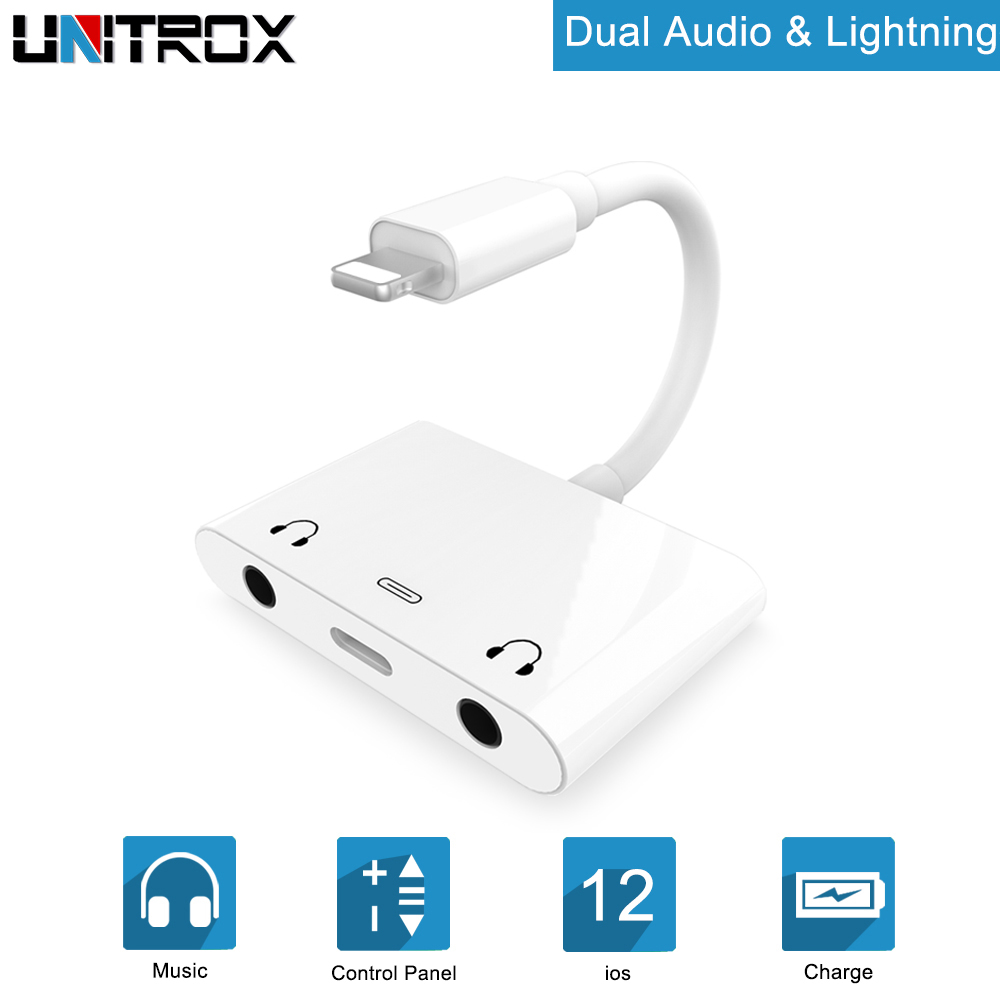 US $8 39 48% OFF|Audio Adapter For Lightning to Dual DC3 5mm Headphone Aux  Jack with Light ning Charging Port For iPhone X/XS/8/8P/7P/7/iPad/iPod on