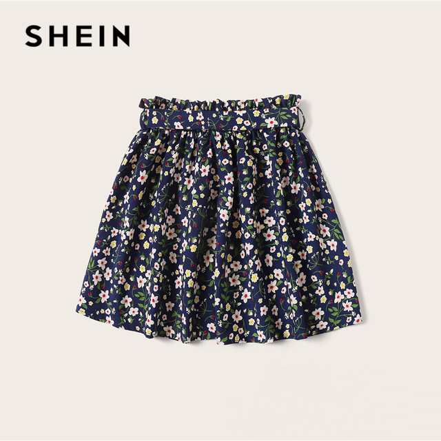 SHEIN Plus Size Navy Ditsy Floral Print Paperbag Waist Belted Skirt 2019 Women Summer Boho A Line Flared Pleated Mini Skirts 2