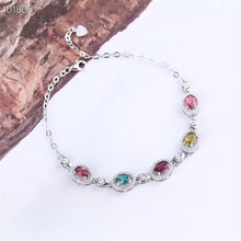 gemstone jewelry factory wholesale SGARIT brand white gold 925 sterling silver natural tourmaline adjustable bracelet for women gemstone jewelry factory wholesale white 925 sterling silver natural green tourmaline adjustable beaded bracelet for women