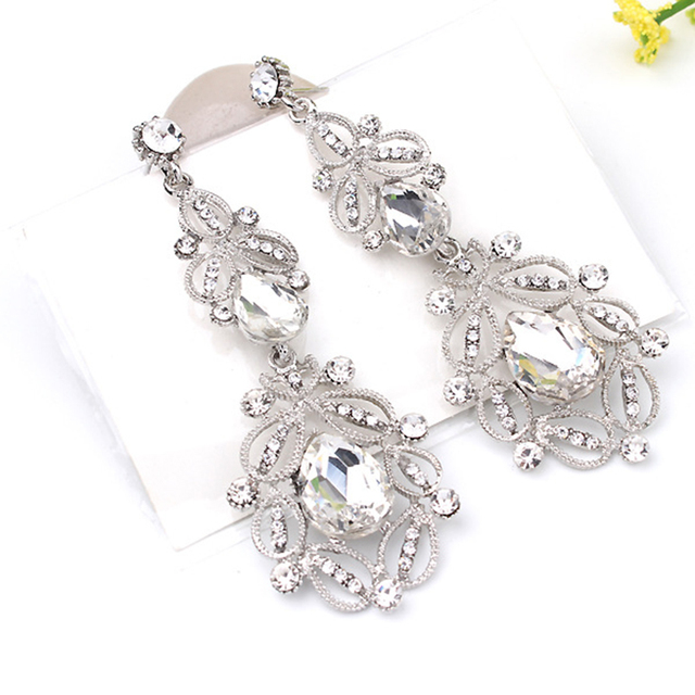 Fashion Big long Blue crystal drop earrings for women vintage flower silver  Color bride Earrings wedding Jewelry accessories c2b57fabe09d