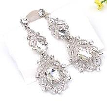 Pendientes largos de cristal azul de moda para mujer, pendientes vintage de flores de Color plateado para novia, accesorios de joyería de boda