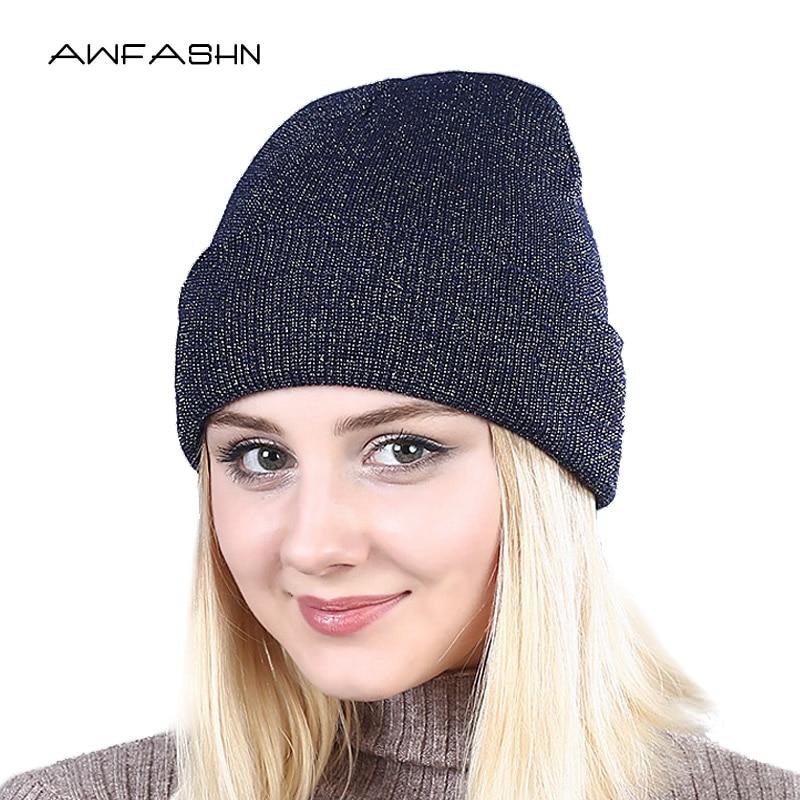 Spring 2019 Shine Lovely  Winter Autumn Beanie Hats Women Soft Knitting Skullies Beanies Hat Female Fashion Hat Cap