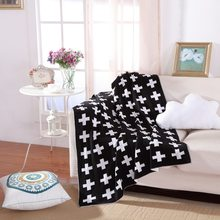 High quality Hot Cross Classic Baby Knitted Blanket Bedding Swaddling Bed Quilt Cover Cute 130x160CM(China)