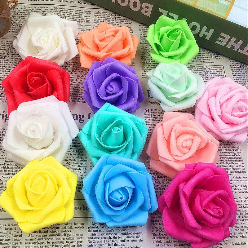 10 unids/(6 cm/flor) barato flores artificiales rosas de espuma cabeza/diy coche