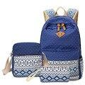 TOURIT 3 Pçs/set Mulheres Lona Impressão Mochila Mulheres Sacos De Escola para Adolescentes Menina Bookbags Bonito Bagpack Mochilas Laptop Feminino