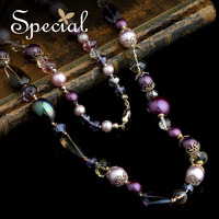 Special Necklaces Natural Pearls Natural Crystal Autumn New Arrive Purple Chian Pendants Free Shipping Gifts XL14A102205