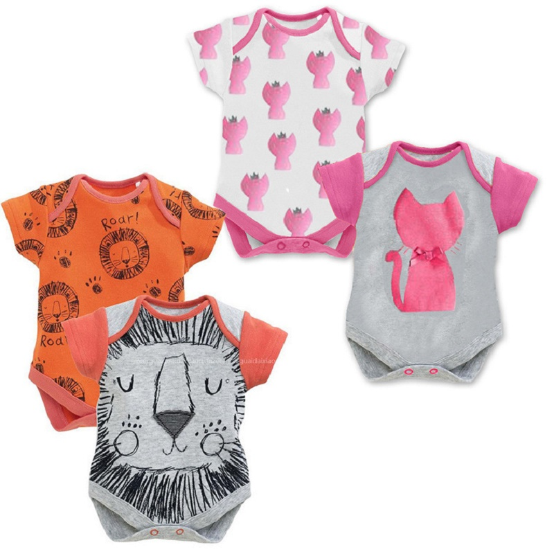 Baby Clothing Short Sleeve Animal Cat Lion Triangle Romper For