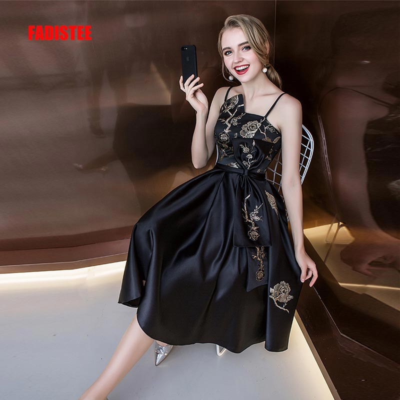 FADISTEE New arrival elegant party   prom     dress   Embroidery satin frock evening   dresses   strapless A-line little black dres
