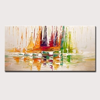 Mintura Decorative Art Pictures Handpainted Modern Abstract Oil Paintings The Abstract Ship Art Hand Painted Poster No Framed