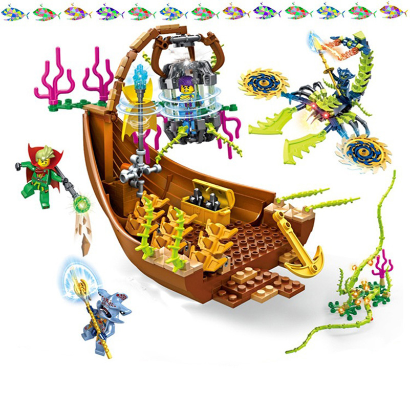 New Education Building Blocks Magic Undersea Magician Ancient Ship Boat Prison Model Bricks Toys Halloween Gifts For Children wange mechanical application of the crown gear model building blocks for children the pulley scientific learning education toys
