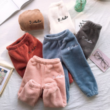 90-170cm Children winter Trousers 2019 Baby Fleece Pants Kids Boys girl Trousers Casual warm Mother and Child Pants outfit 8year baby coral fleece long pants newborn warm clothes autumn and winter boys and girls trousers