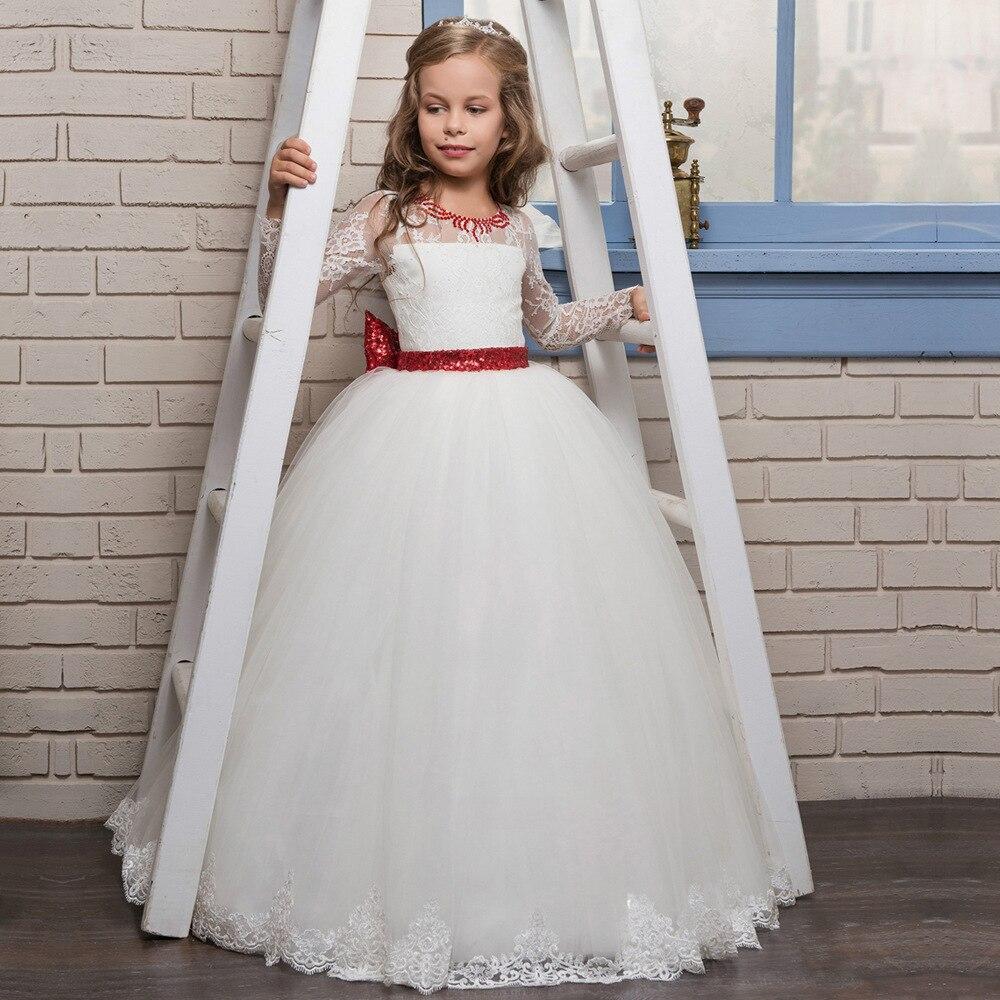 Printemps fleurs filles robes pour mariage blanc dentelle fille formelle fête d'anniversaire robe princesse robe enfants première Communion GownHW2115