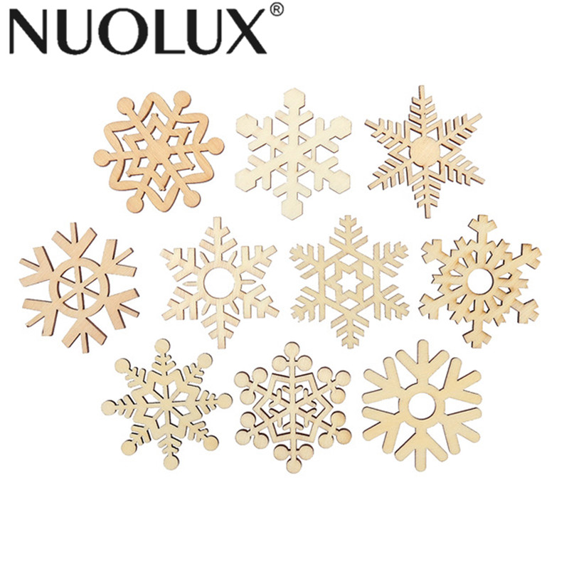 Mixed Carved Christmas Snowflake Cutouts Wood DIY Craft Wooden Home DecorationWU