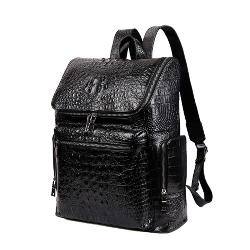 Spring And Autumn New Men Backpack Ieather Crocodile Pattern European And American Trend Large Capacity Male Computer Bag