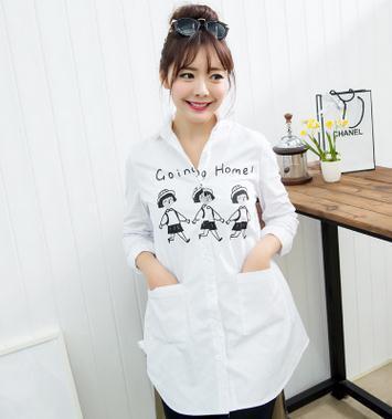 2017 primavera y otoño nueva maternidad embarazada clothing clothing coreano de gran tamaño de la maternidad t-shirt de maternidad sz6115
