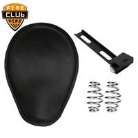 1set Motorcycle Retro Brown Leather Solo Seat With Black 3 Spring Bracket For Harley Custom Chopper Bobber Saddle Seat