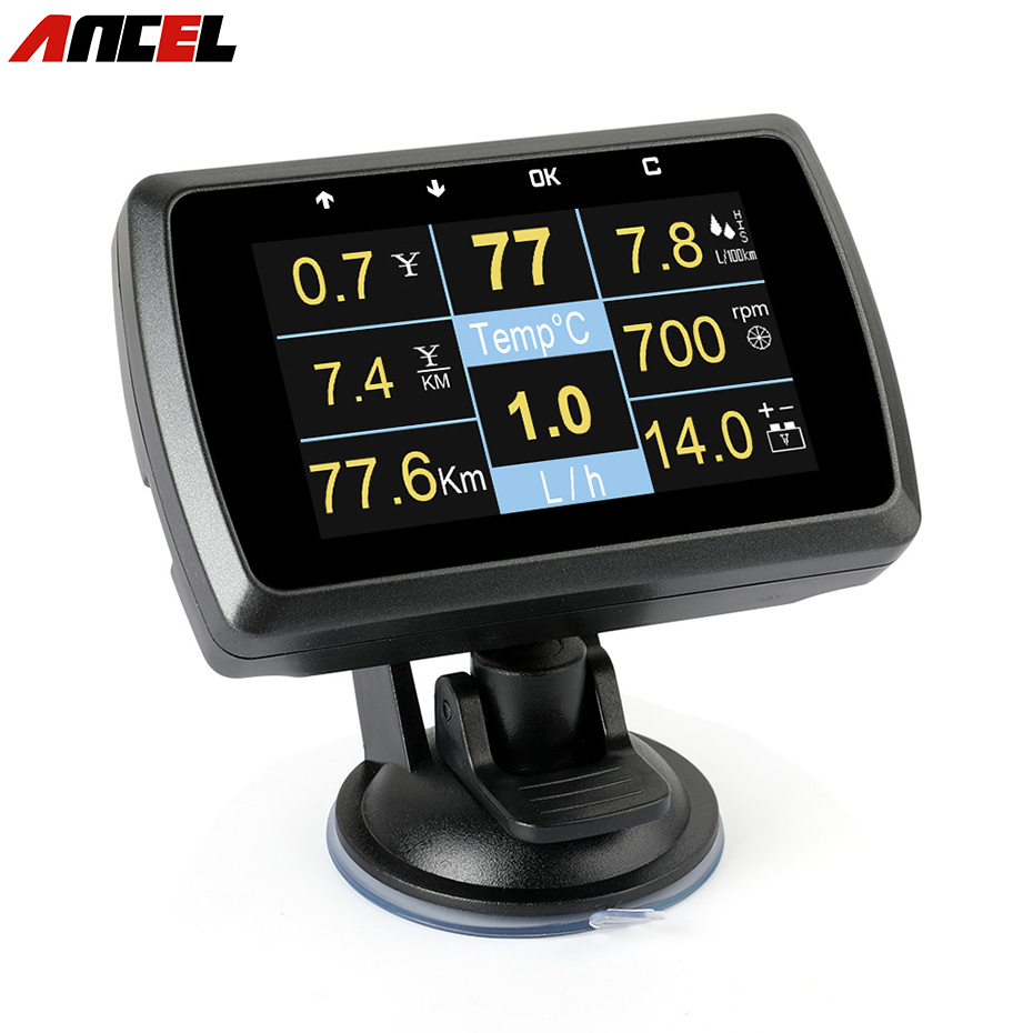 OBD Gauge ANCEL A501 Show Car Speed Fuel Consumption Voltage Display Meter Water Temperature OBD2 Auto Diagnostic Tool PK A202 rastp m9 hud 5 5 inch head up windscreen projector obd2 euobd car driving data display speed rpm fuel consumption rs hud011