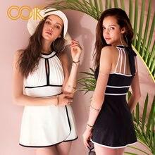 b06da84e00fbd Black   White One Piece Swimsuit Dress Newest Straight Skirt Swimwear Women  Monokini Set U Neckline Bathing Suit Bodysuits