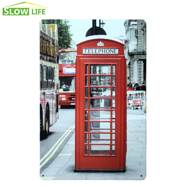 London Red Telephone Booth Sign Bar Wall Decor Metal Sign Vintage ...