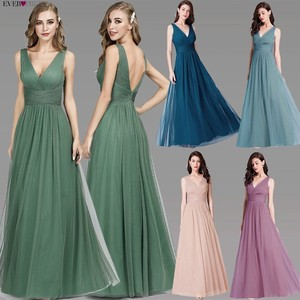 Image 2 - New Bridesmaids Dresses 2020 Ever Pretty EP07526OD Elegant A Line V Neck Long Tulle Pleated Wedding Party Gowns Robe Mousseline