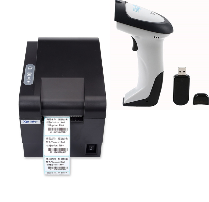 Gift 1pcs wireless scanner+235B clothing tag  58mm Thermal barcode printer sticker printer Qr code the non-drying label printer 2d wireless barcode area imaging scanner 2d wireless barcode gun for supermarket pos system and warehouse dhl express logistic