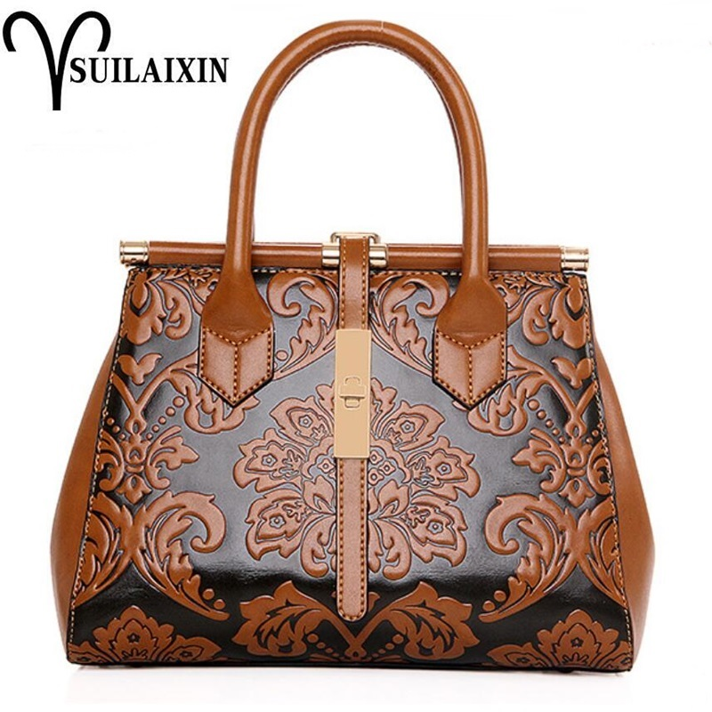 Women Leather Christmas Bucket Bag Large Vintage Embroidery Embossing Printing retro Floral Handbag Luxury Tote Bag High quality ladylike women s tote bag with solid color and daisy embossing design