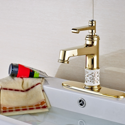 Modern Ceramic Body Vanity Golden Bathroom Sink Basin Faucet Mixer Tap Single Handle W/ Plate Faucet single handle golden swan faucet bathroom basin faucet vanity sink mixer tap