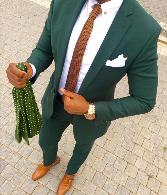 Custom Made Green Two Button Street Style Men Slim Fit Suit /Notch Lapel Groomsmen Men Wedding Suits(jacket+pant+vest)