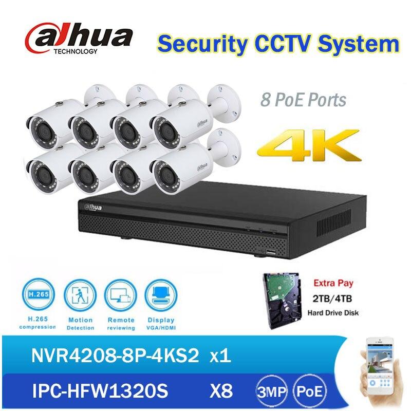 Original Dahua 8CH NVR Kits 8 PoE Network Video Recorder NVR4208-8P-4KS2 with 3MP Waterproof IR PoE IP Camera IPC-HFW1320S dahua 3mp ir waterproof