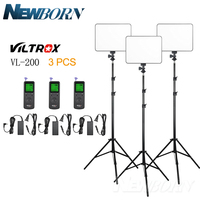 VILTROX 3PCS VL 200 LED Light 3200 5500K+DC Power+2M Light Stand kit for Video Studio Canon Nikon Sony Fuji Pentax Olympus