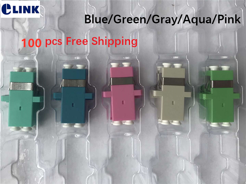 100pcs LC duplex adapter SC footprint blue green gray aqua pink fiber coupler DX connector APC
