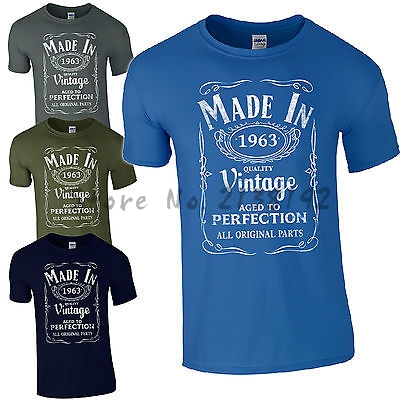 Pattern Men T Shirt Made In 1963 Born 54rd Year Birthday Age Present Vintage Funny Mens Gift Top Tees