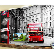 Europe Wall Paper London Street Red Bus Photo Wallpaper Mural Stickers 3D Living Room Bedroom Self Adhesive Vinyl/Silk Wallpaper(China)