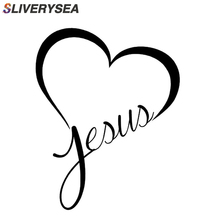 SLIVERYSEA Jesue Heart Christian Car Sticker Automobiles Window Bumper Reflective Decals Auto Decoration Accessories